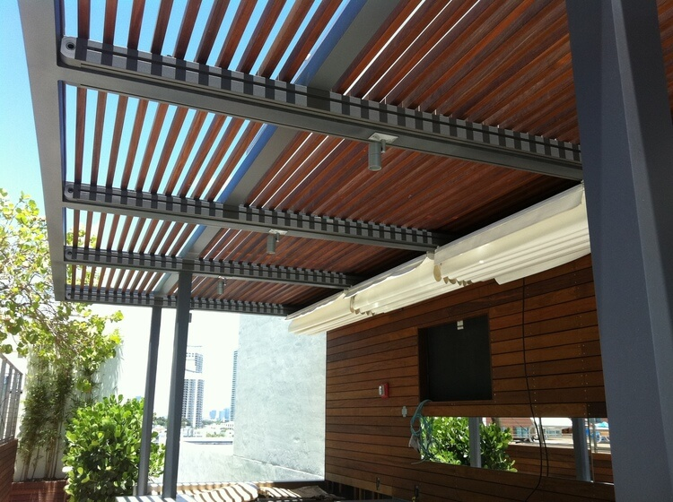 Wood slat canopy